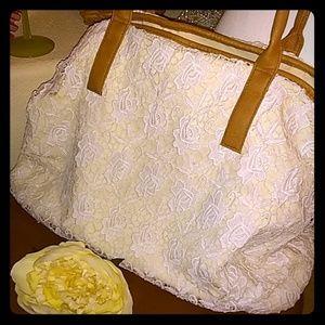 Merona beautiful cream color, lacy canvas tote bag
